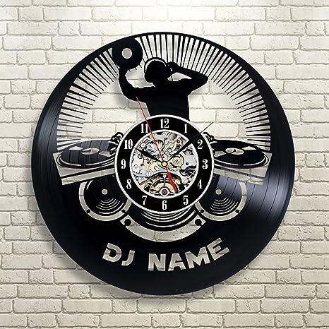 Reloj de pared de vinilo personalizable con el nombre de DJ