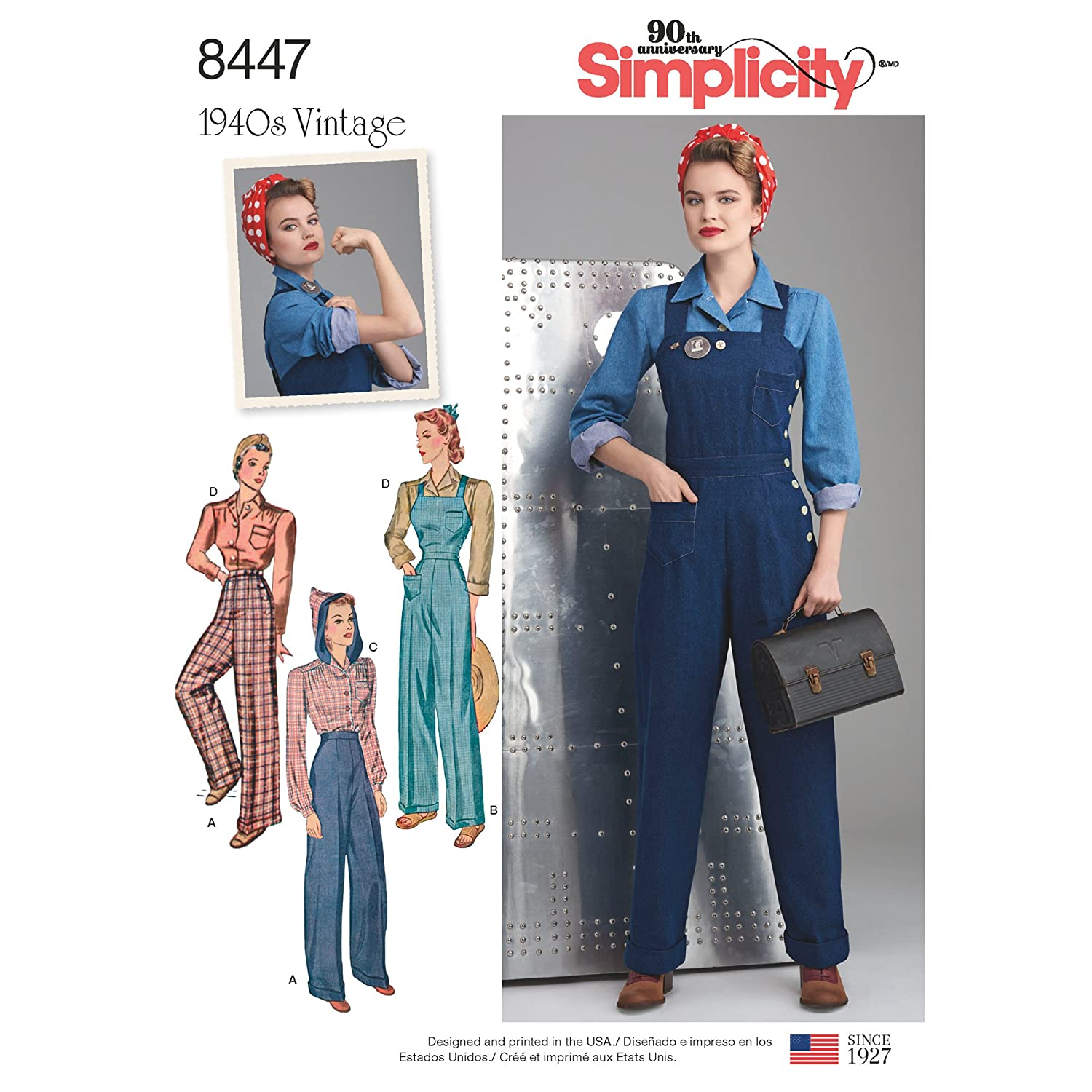 1940s Fabrics and Colors in Fashion Simplicity Pattern 8447 H5 Misses 1940s Vintage Pants Overalls and Blouses Size 6-8-10-12-14 $10.99 AT vintagedancer.com