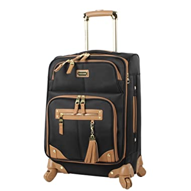 Steve Madden Luggage Carry On 20  Expandable Softside Suitcase With Spinner Wheels (20in, Harlo Black)