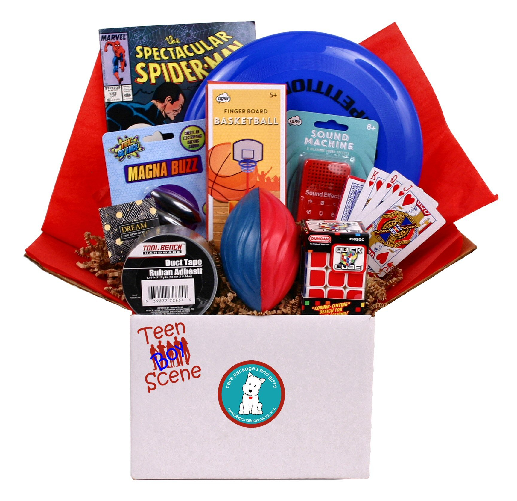 Beyond Bookmarks Teen Scene - Boy's Summer Camp Care Package or Birthday Gift Includes Marvel Comic Book, Mini Sound Effects Machine and More