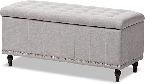 Baxton Studio Sherrill Modern Classic Greyish Beige Fabric Upholstered Button-Tufting Storage Ottoman Bench
