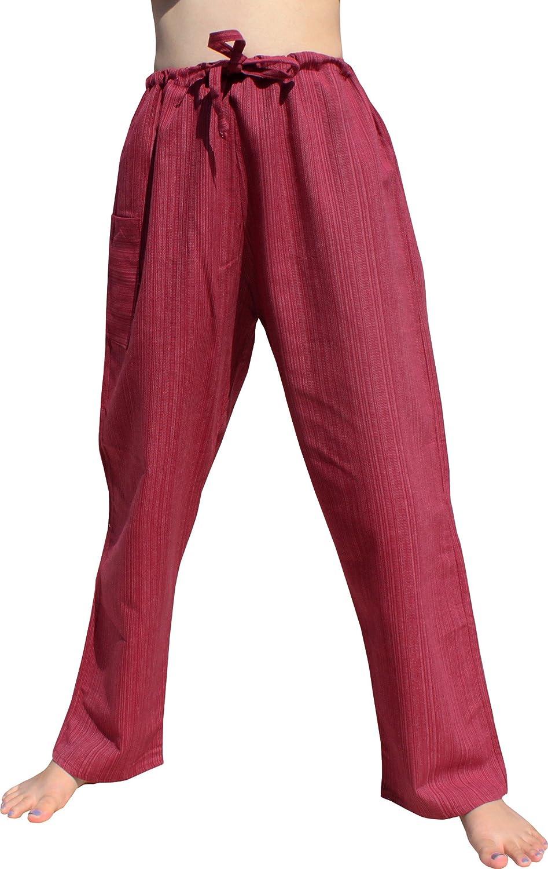 Raan Pah Muang RaanPahMuang Striped Cotton Waist Tie String Straight Leg Lounge Lizard Pants