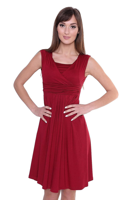 Kleid A-Linie Knielang mit Raffungen mit Taschen V-Ausschnitt, 8188