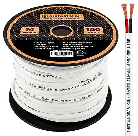 Amazon.com: InstallGear 14 Gauge AWG 100ft In Wall Speaker Wire ...