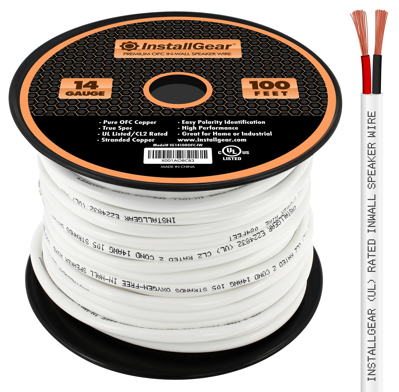 InstallGear 14 Gauge AWG 100ft In Wall Speaker Wire - 99.9% Oxygen-Free Copper - UL Listed/CL2 Rated