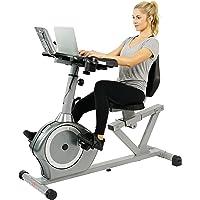 Sunny Health & Fitness Bicicleta de Ejercicios con Escritorio Reclinada Magnética, Elevada Capacidad de Peso de 160 kgs, Monitor - SF-RBD4703