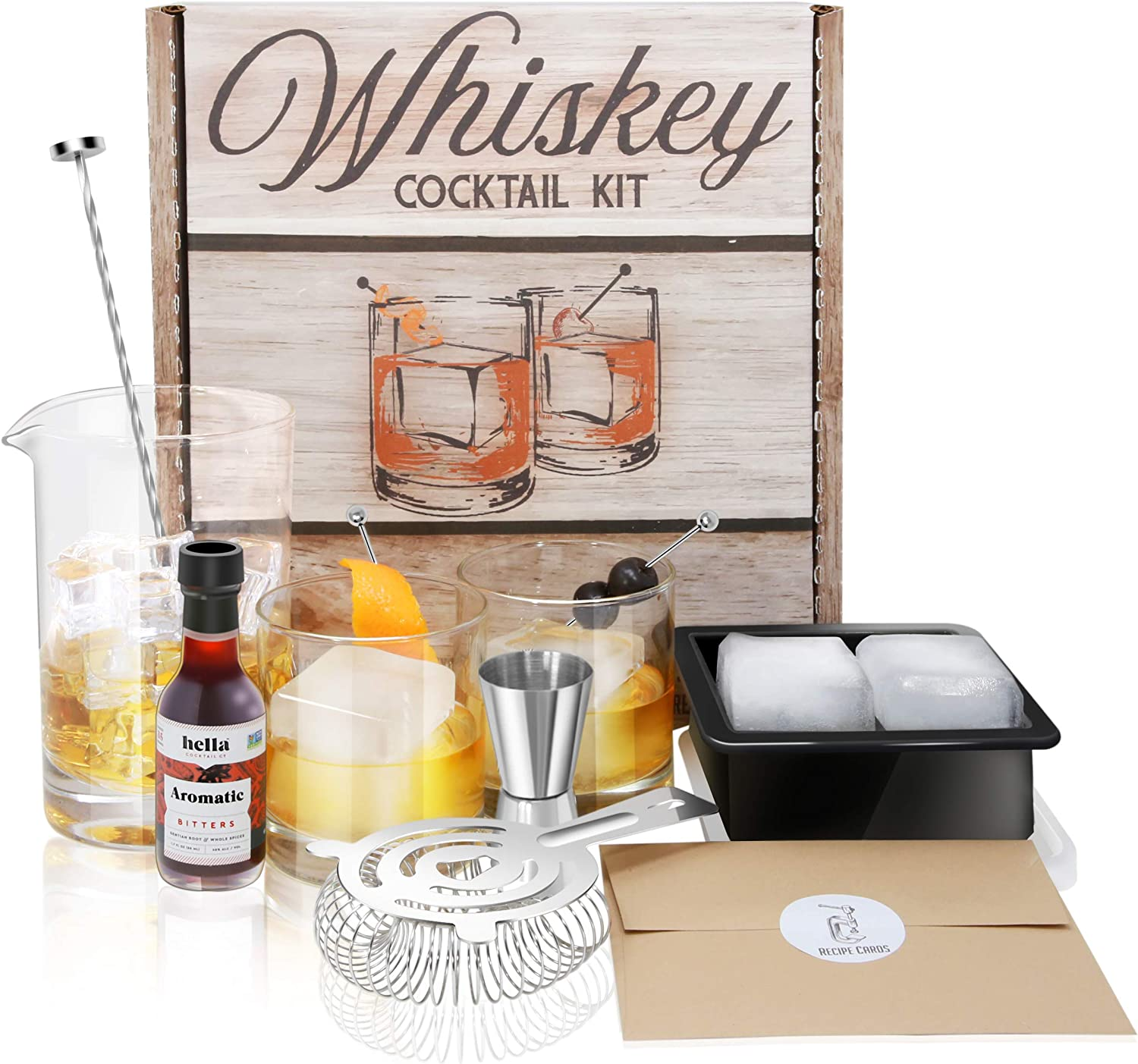 Whiskey Cocktail Kit: Rocks Drinking Glass Set | 750ml Crystal Mixing Glass | Ice Cube Mold | Stainless Bar Spoon Stirrer w/Muddler, Strainer, Jigger, Garnish Picks | Aromatic Hella Bitters | Recipes