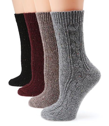 MIRMARU M102-Women's Winter 4 Pairs Wool Blend Crew Socks Collection(Grey,Burgundy,Brown,Black),Medium / Shoe Size:6-9.