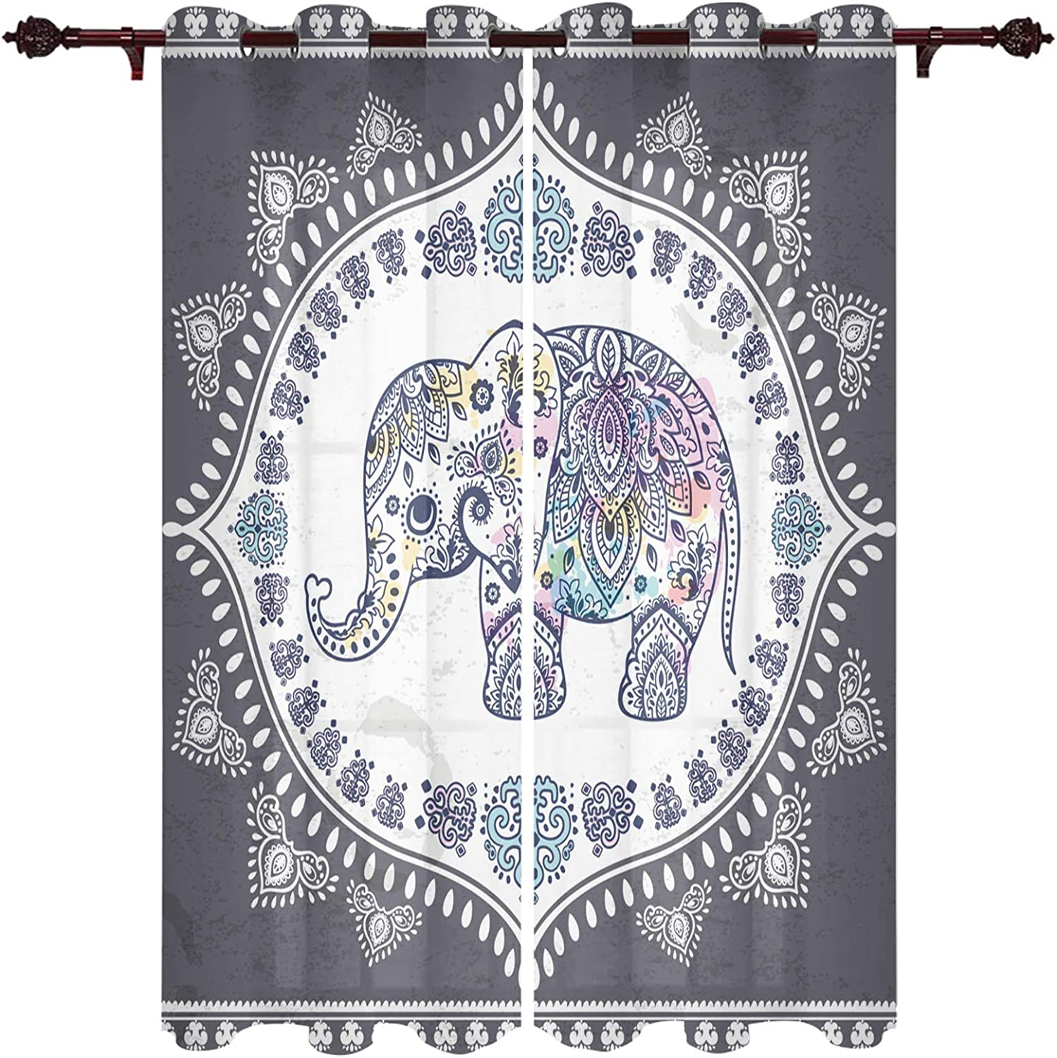 """Mandala Elephant Indian Art Boho Tribal Design Window Treatment Curtains 2 Panels Pair with Grommet Top for Kitchen, Bedroom and Living Room, Thermal Insulated Fabric Draperies and Drapes 40""""x63"""""""