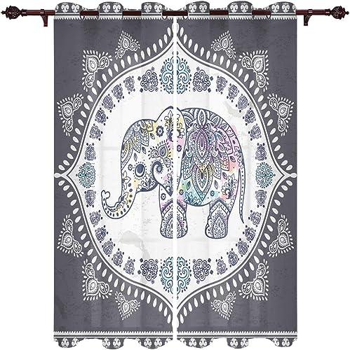 Mandala Elephant Indian Art Boho Tribal Design Window Treatment Curtains 2 Panels Pair
