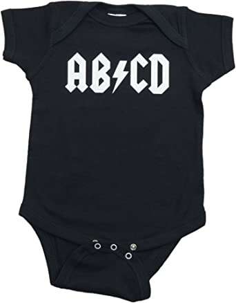 864f653dcab36 Amazon.com  Ann Arbor T-shirt Co. Unisex Baby AB CD Funny Infant Rock and  Roll One Piece  Clothing