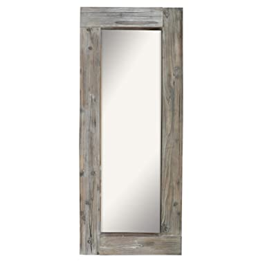Barnyard Designs Long Decorative Wall Mirror, Rustic Distressed Unfinished Wood Frame, Vertical and Horizontal Hanging Mirror Wall Decor 58  x 24