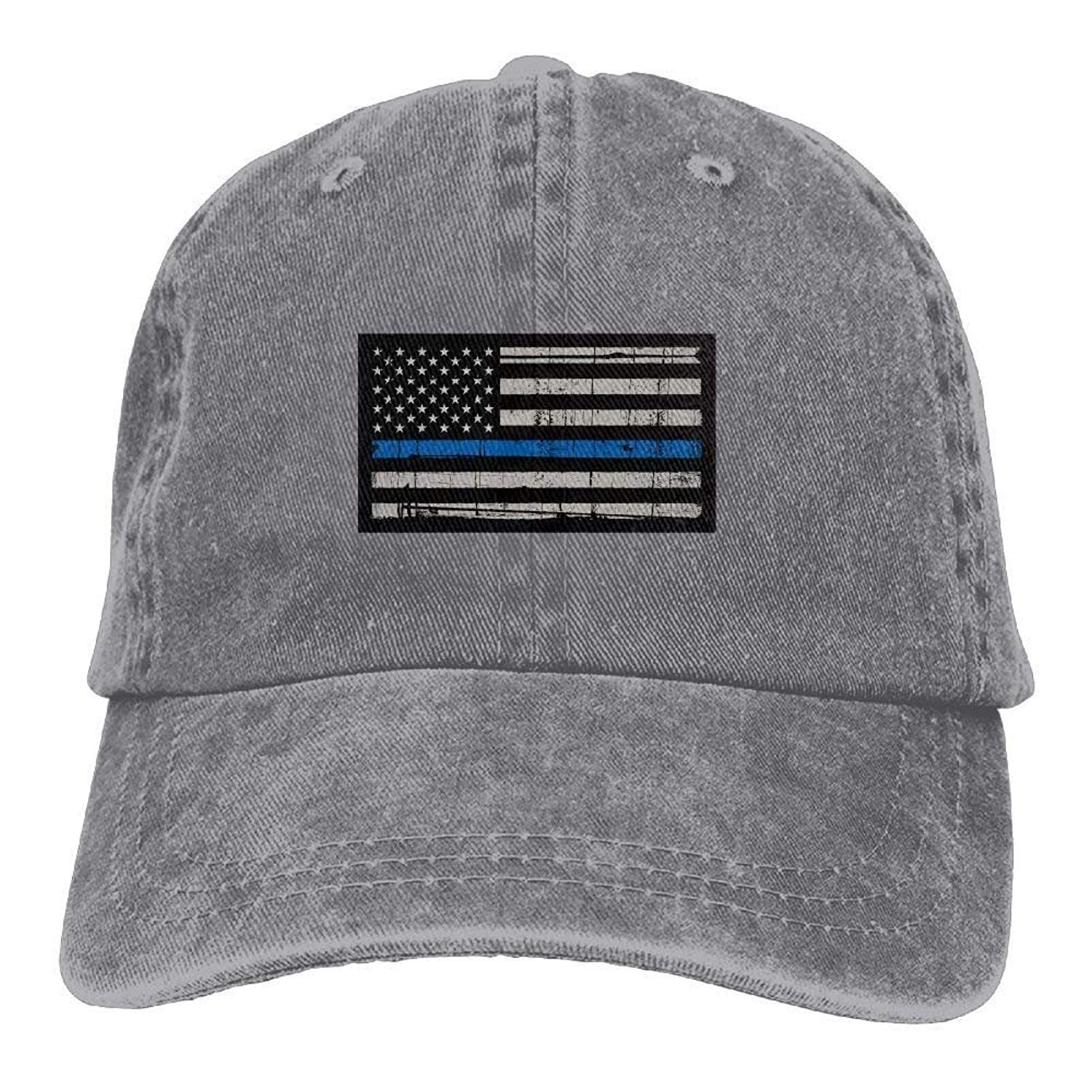 309ac00bf47 HENBEERS Support The Police Thin Blue Line American Flag Unisex Adjustable  Individuality Cowboy Cap