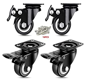 """ENJUCOM 2"""" Swivel Caster Wheels with Safety Dual Locking Heavy Duty 600Lbs Set of 4 with Brake,150 LBS Per Caster, (16 x Stainless Steel Screw 18-8 [Size:M5X20] )"""