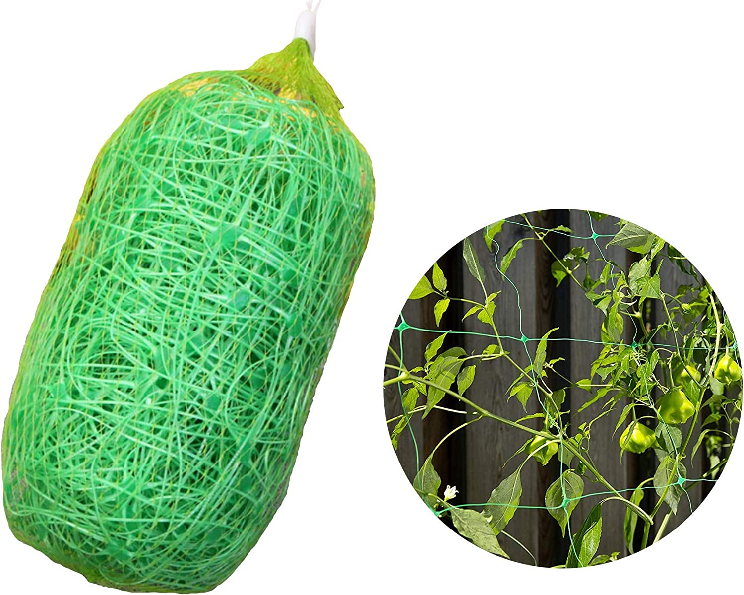 LAVZAN 6.5Ft x 32Ft Trellis Netting with 100 Pcs Nylon Cable Ties Plant Support for Climbing Plants, Vine and Veggie Trellis Net Climbing Frame Garden Fence Net for Flower Plant Fruit 2×10