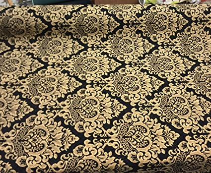 Chenille Damask Print Black Gold Cleopatra Furniture Upholstery Fabric Sofa
