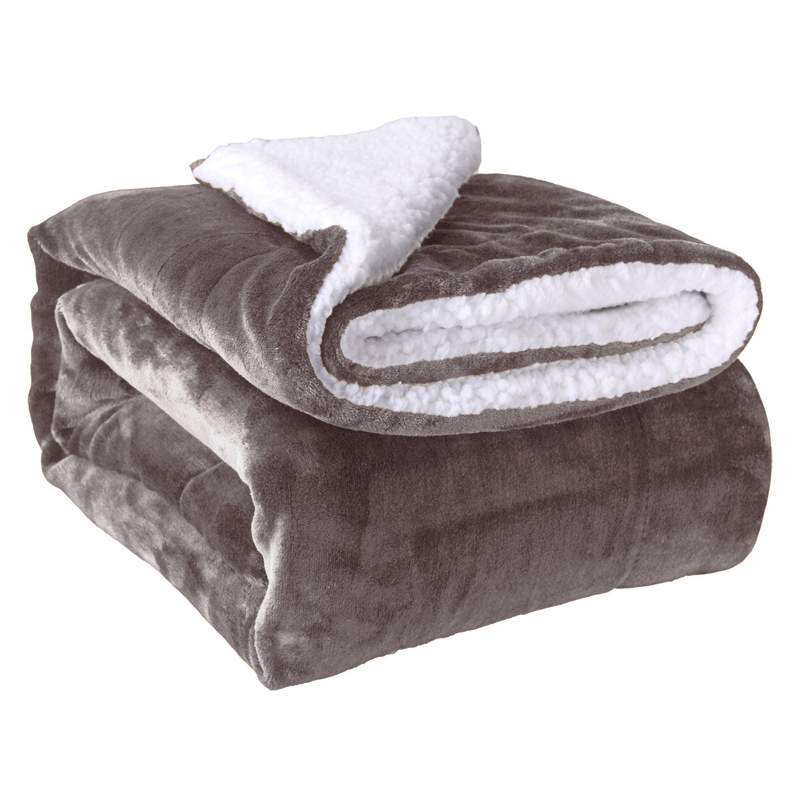HoroM Sherpa Throw Blanket Grey 50''x60'' Microfiber Reversible Bed Throws Luxury Soft Cozy Fluffy Warm and Fuzzy Blankets for Bed or Couch