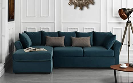 Modern Large Velvet Sectional Sofa, L-Shape Couch with Extra Wide Chaise Lounge (Teal Blue)