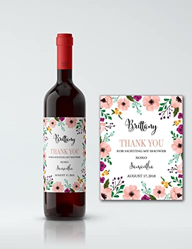 hostess gift wine label thank you for hosting my bridal shower wine bottle label