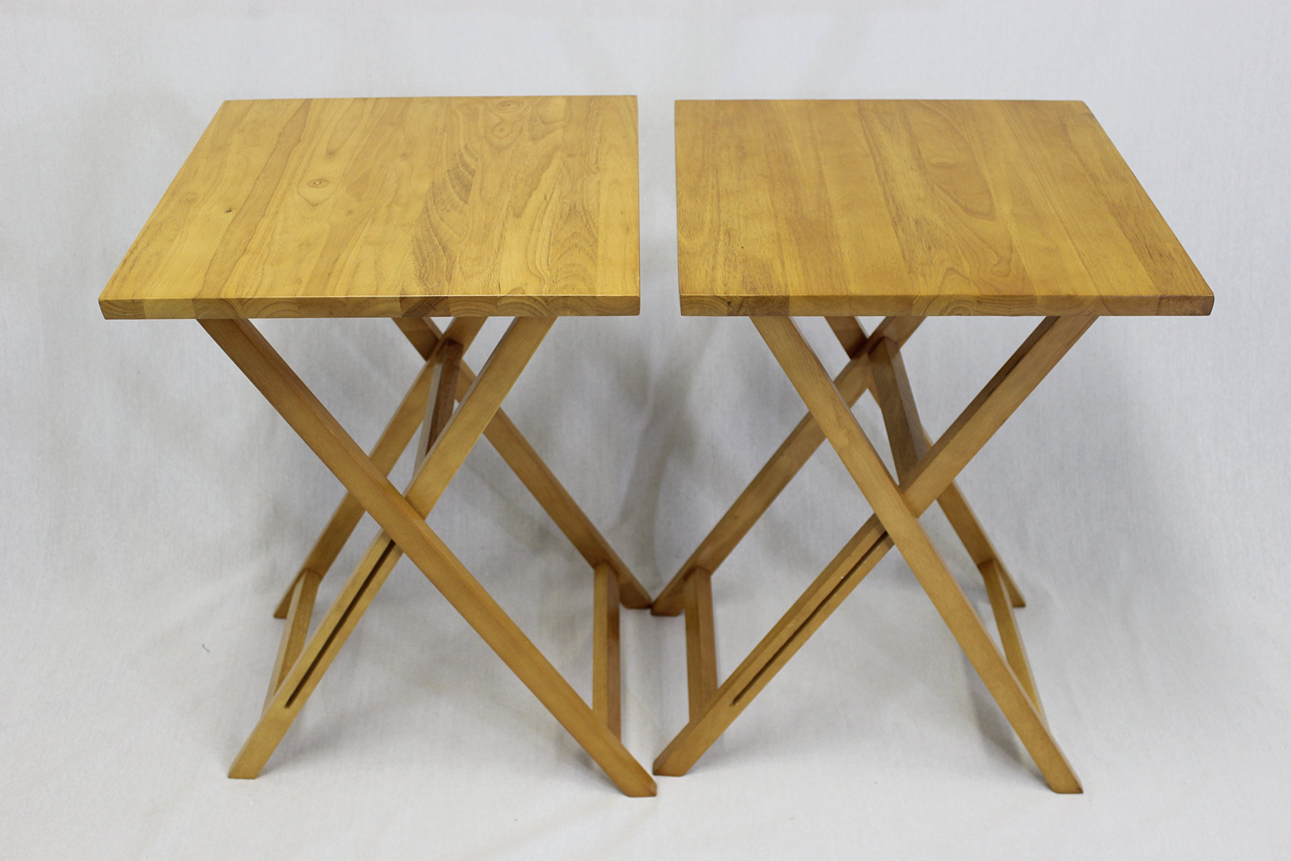 eHemco Ez Folding Tv Tray Table Square Top- Hard Wood in Pecan Set of 2