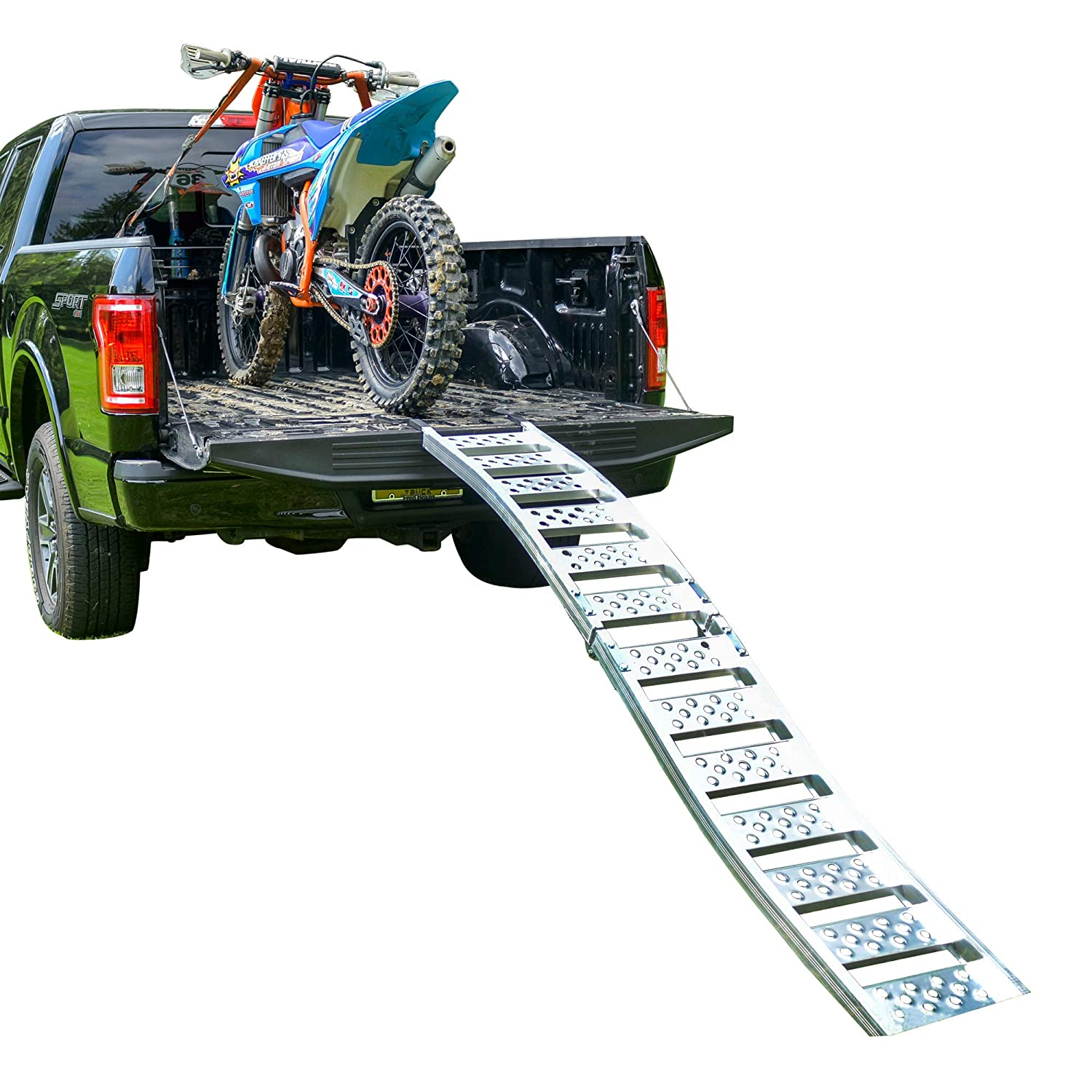 """Tru-Grip"" Dual Curved Aluminum Folding Motorcycle Ramp (750 lb) EmpireCovers"