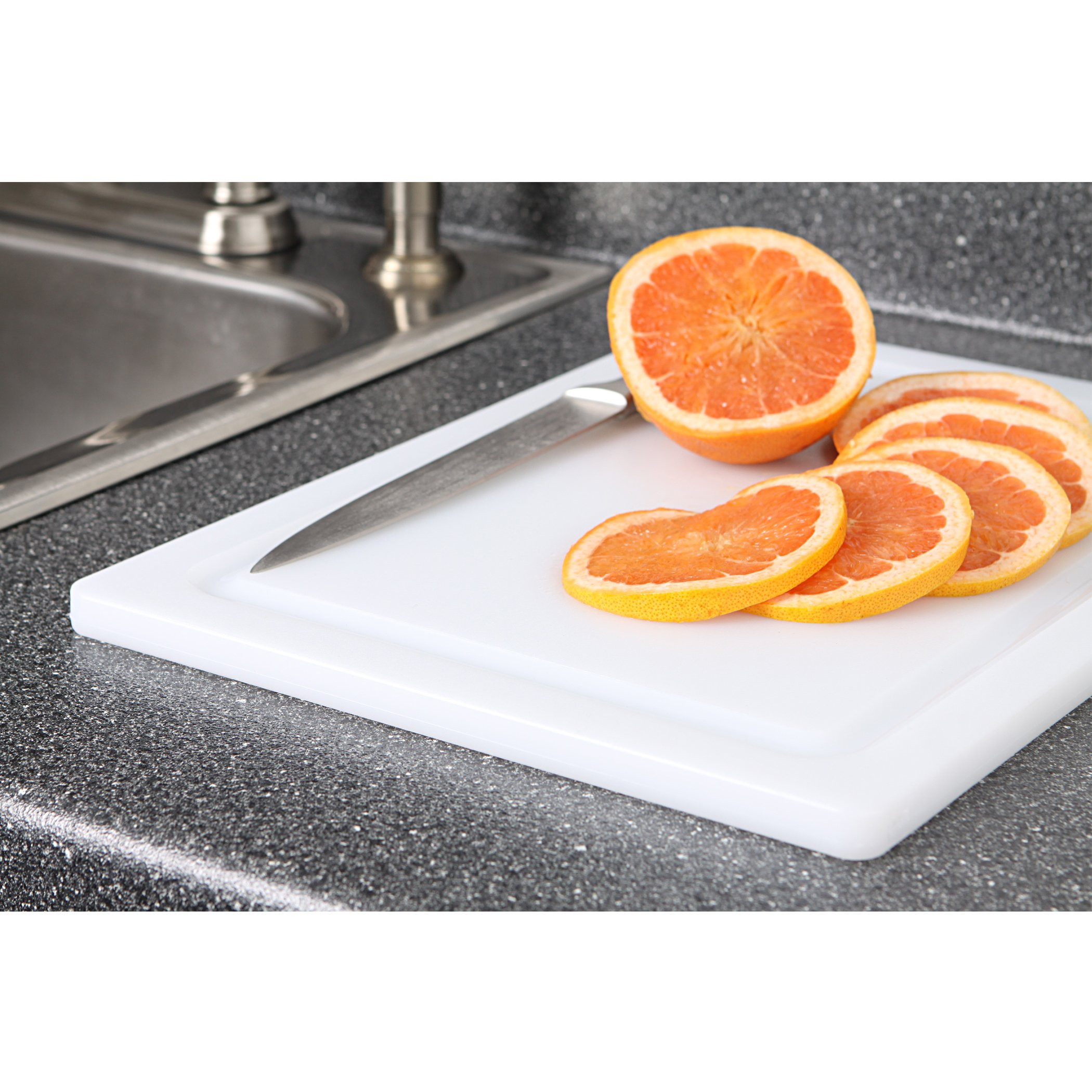 Dexas 4525-133 Nsf Approved Poly Cutting Board with Juice Well,12 x 16 x 5/8 Inches, White by Dexas (Image #2)