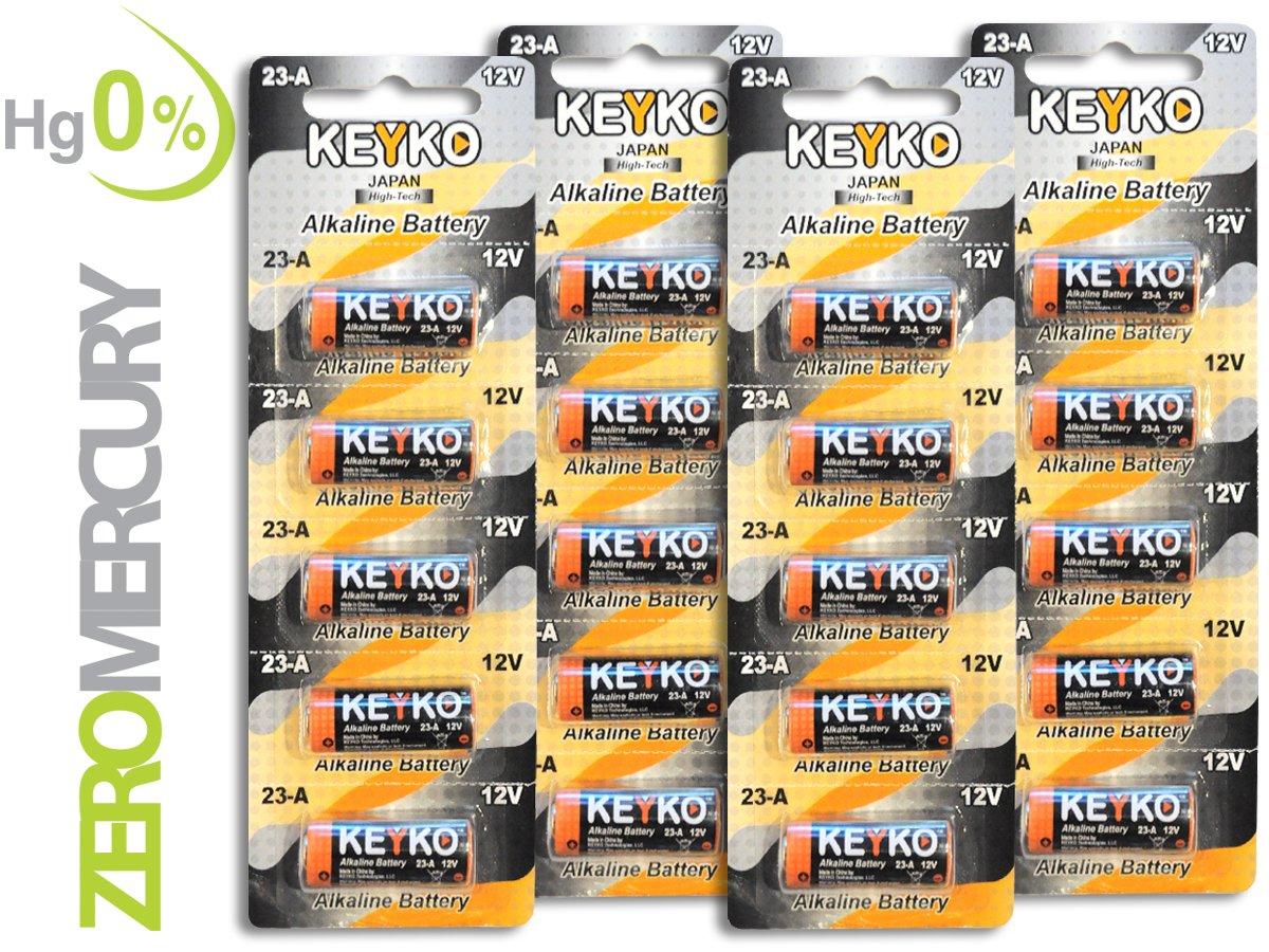 A23 Battery 12V Alkaline 55 mAh - 20-Pcs Pack - for Garage Doors Opener, Ceiling Fans & Wireless Doorbells Remotes - 2 Years Warrantee - Type 12 Volt MN21 23GA 21/23 GP23AE A23G A23S Genuine KEYKO KEYKO MITSUKO-KAI Ltd KT-23A