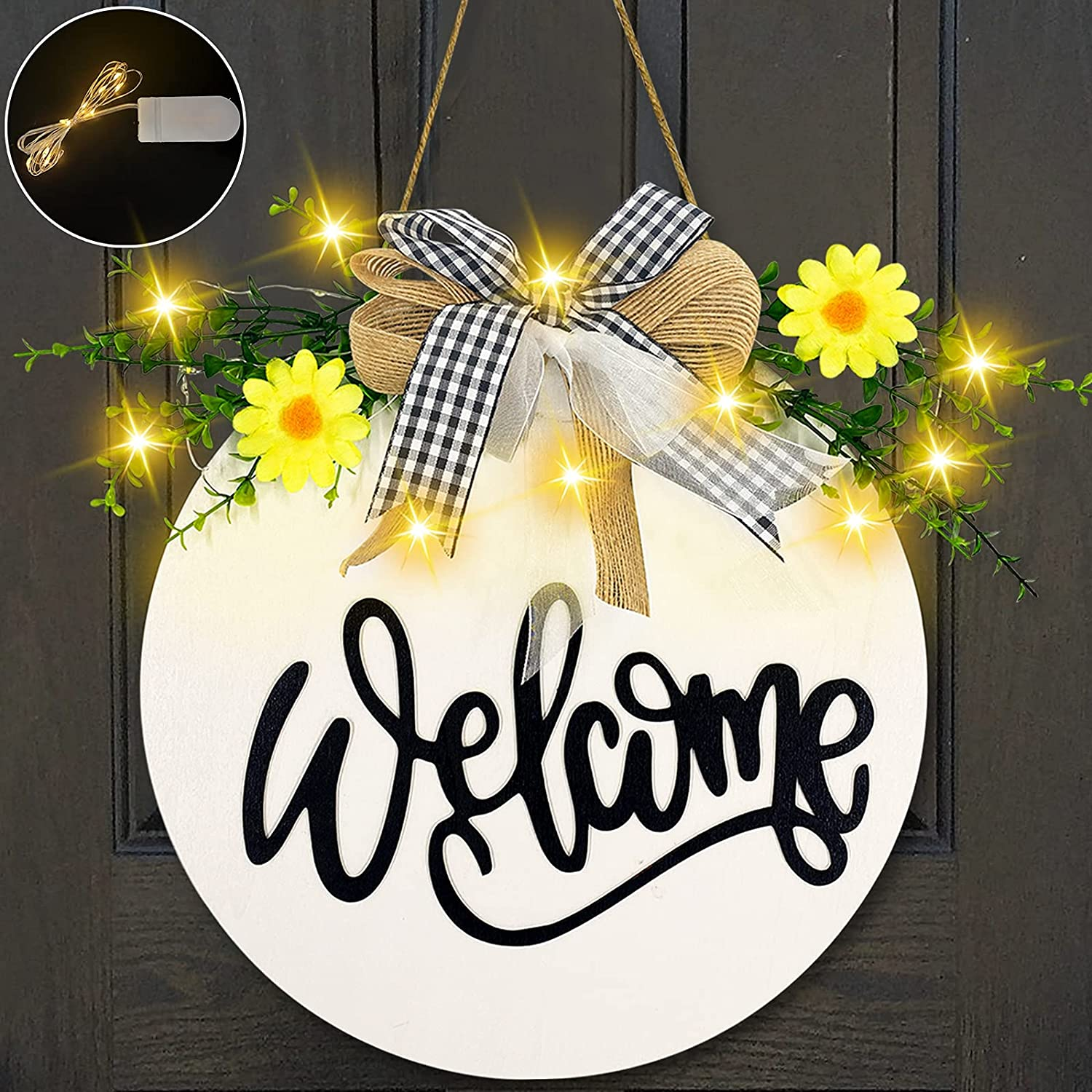TURNMEON Lighted Welcome Wreath Sign Front Porch Door Decor with Lights Daisy Eucalyptus Spring Summer Rustic Round Wooden Hello Sign Hanging Outdoor Home Wall Farmhouse Porch Decor Housewarming Gift