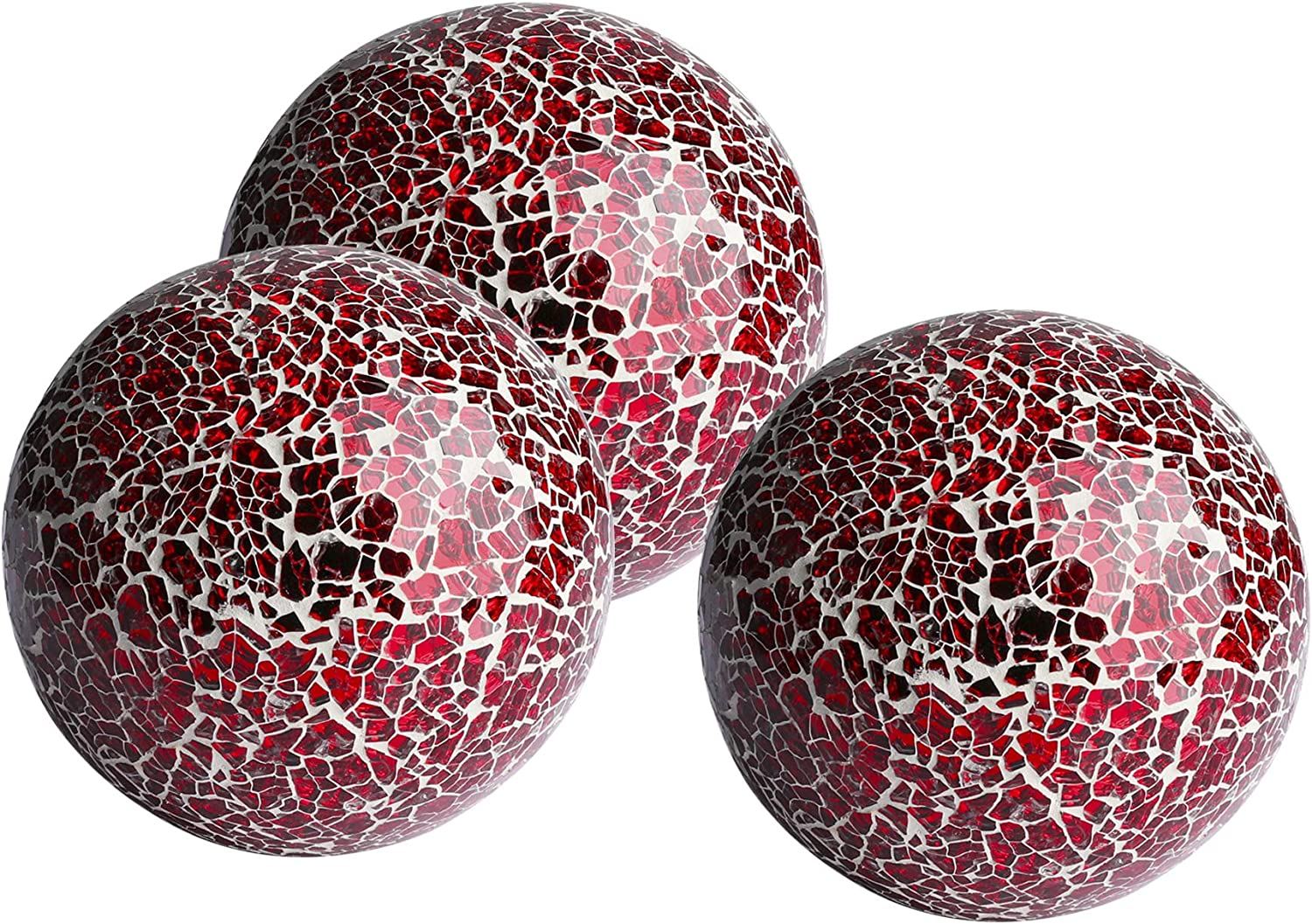 """WH Housewares Decorative Balls Set of 3 Glass Mosaic Sphere Dia 4"""" (Red)"""
