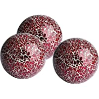 Whole Housewares Decorative Orbs Set of 3 Glass Mosaic Sphere Balls Diameter 4″ for Bowls, Vases and Table Centerpieces. (Red)