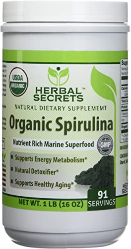 Herbal Secrets USDA Certified Organic Spirulina Powder 16 Oz Non-GMO 1 Lb – Nutrient Rich Marine Superfood- Supports Healthy Aging, Energy Metabolism, Natural Detoxifier*