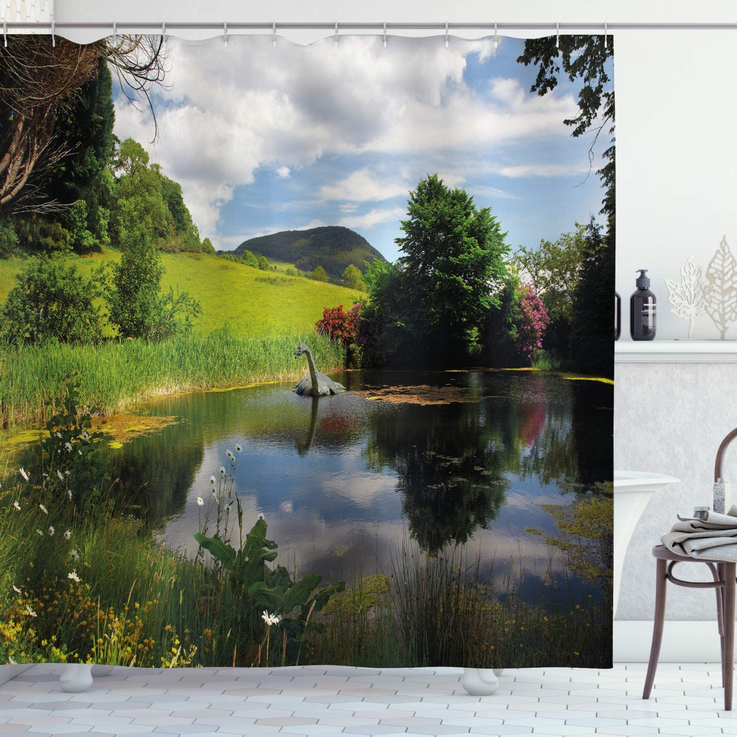 Ambesonne Nature Shower Curtain, Lake by Meadow in a Sunny Day Rural Country Valley Scottish Summertime Landscape, Cloth Fabric Bathroom Decor Set with Hooks, 70