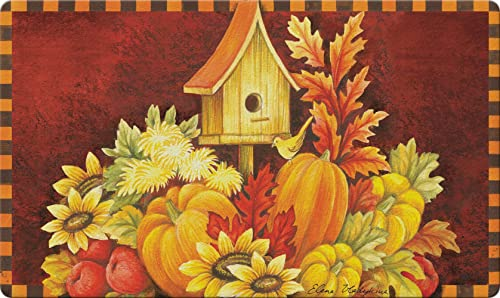 Toland Home Garden Fall Birdhouse 18 x 30 Inch Decorative Autumn Floor Mat Harvest Bird Doormat