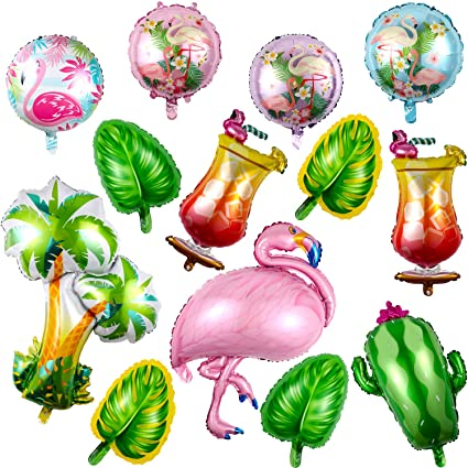 Chuangdi 13 Pieces Hawaiian Party Balloon Decorations Summer Party Foil Balloons Flamingo Palm Tree Balloon Set For Hawaiian Party Supplies