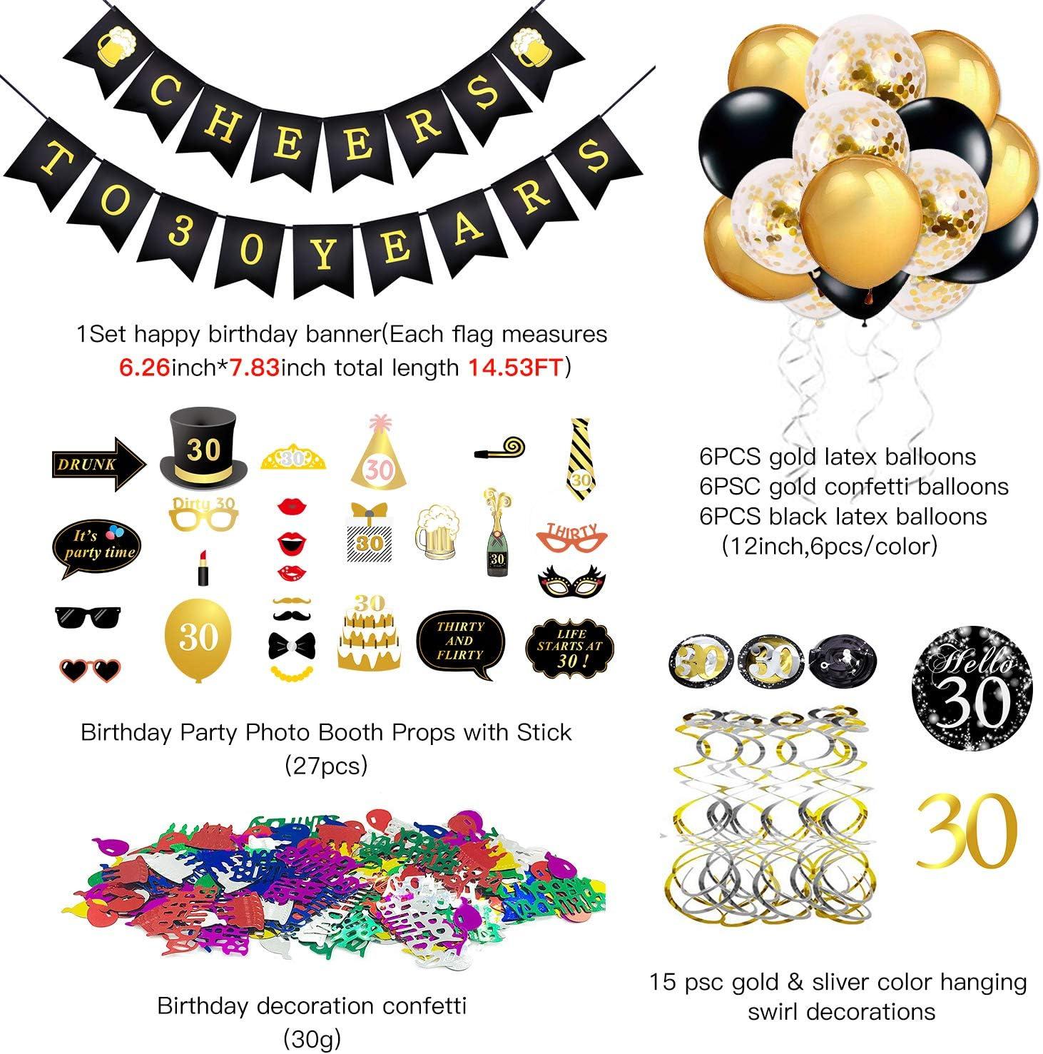 per la Decorazione della tavola di casa 30g 40 coriandoli di Buon Compleanno Qpout Decorazioni per Il 40 /° Compleanno in Oro Rosa per Donne e Ragazze 40 /° Compleanno turbinii sospesi 30 Pezzi