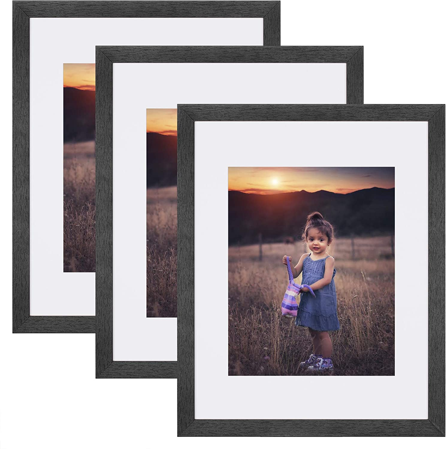 Upsimples Home 11x14 Picture Frame, Real Glass and Composite Wood for Wall, Display 8x10 Frame With Mat or 11x14 Without Mat, Hanging Hardware Included, Set of 3,Black
