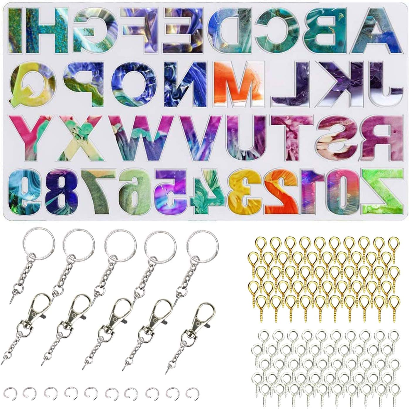 with Keychain Tassels and Pin Vise Set for Key Chain House Number Letter Number Silicone Reversed Keychain Resin Jewelry Mold for Resin Casting Alphabet Resin Silicone Mold Backward Set 41 pcs