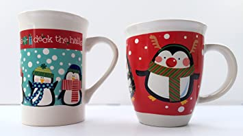 christmas penguin mug gift set with 2 penguin christmas mugs penguin lover gifts the