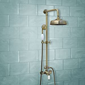 ENKI grifo mezclador termostática set ducha telescópic bronce ...