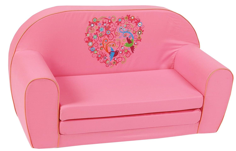 Knorr-baby 430165 - Sofá infantil plegable con diseño de flores y pájaros, color rosa