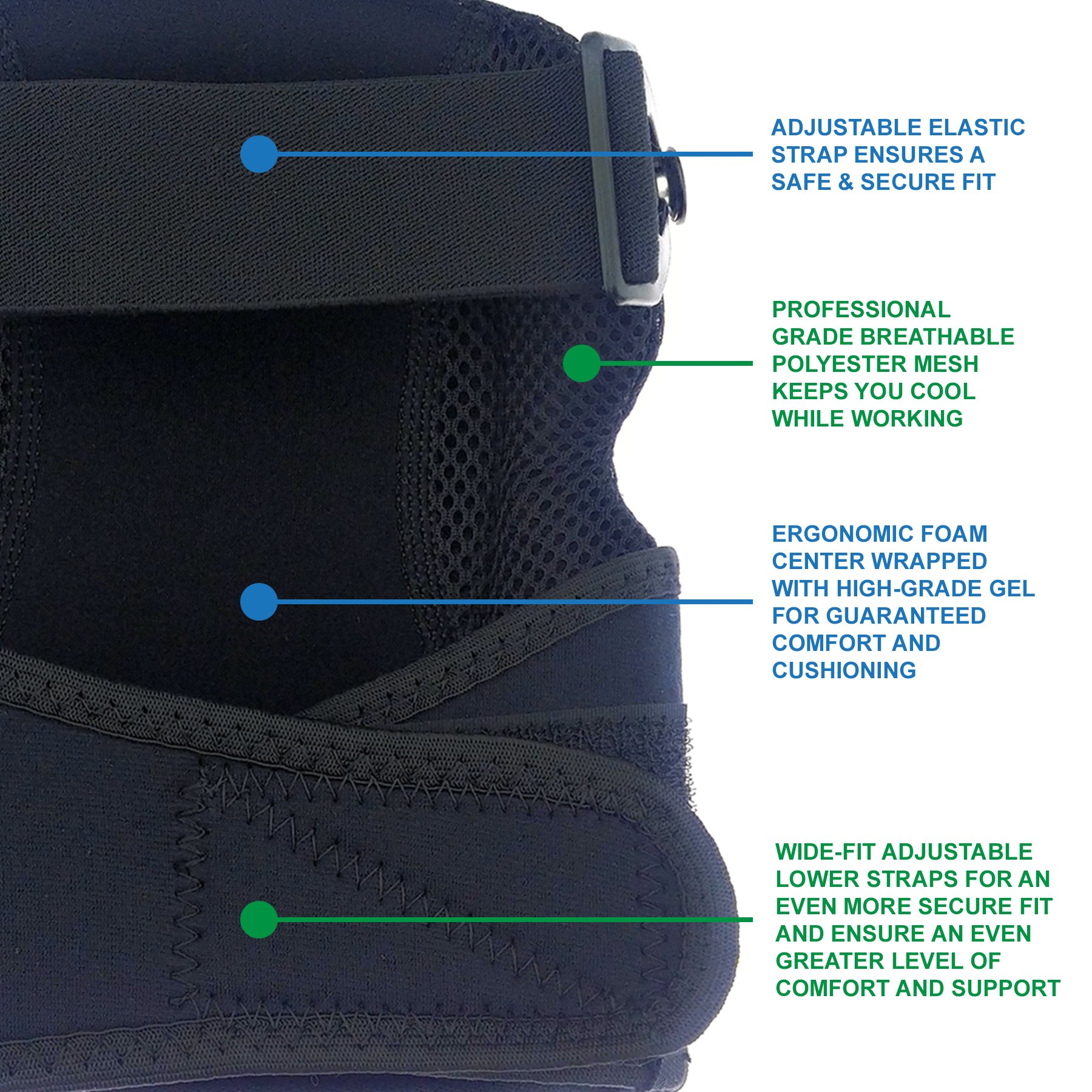 Knee Armor Heavy Duty Professional Knee Pads with Gel Cushions, EVA Foam, Adjustable Straps, Bonus Protective Gloves. Superb Knee and Hand Protection. Perfect for Construction, Gardening and More by Knee Armor (Image #3)