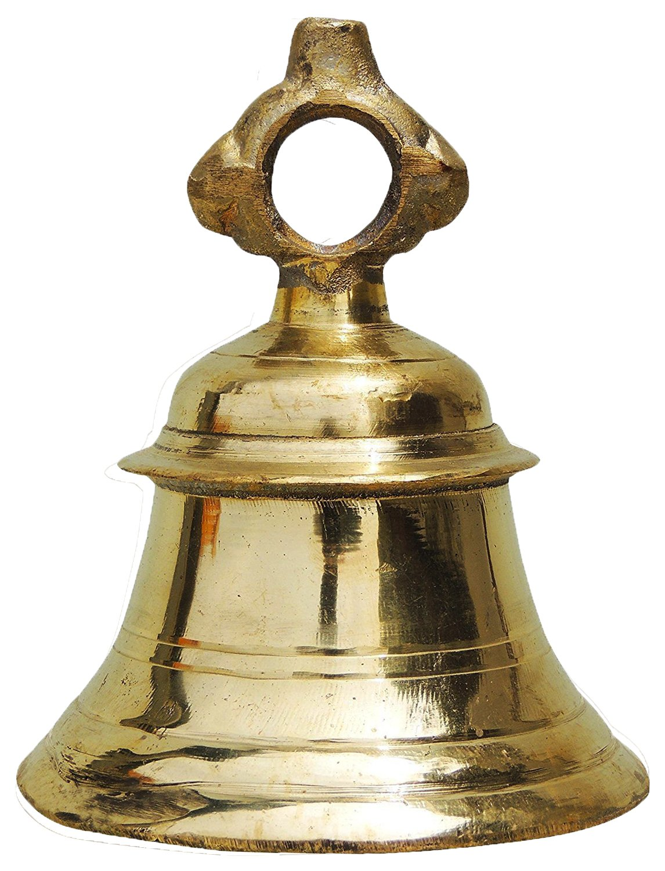 PARIJAT HANDICRAFT Solid Brass Temple Ganta Hanging Ship Bell Brass Pooja Bell Indian Temple Bell Size-5 Inch
