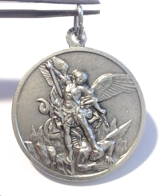 32 mm Medaille des Erzengels Michael aus Hochrelief Gro/ße Gr/ö/ße Big Size