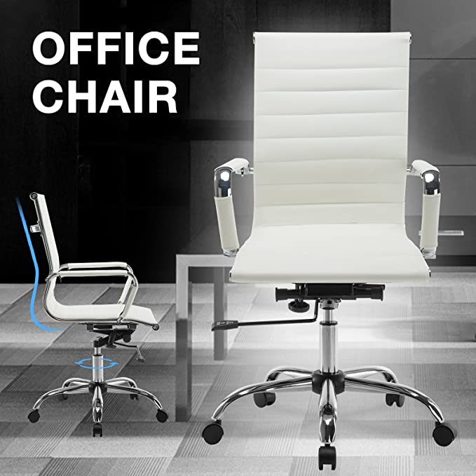 Amazon.com: Mecor Ribbed Office Chair High Back PU Leather ...