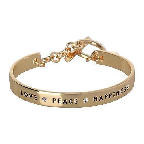 Amazon BCBG Generation 60k Crystal Love Peace Happiness Cuff Mesmerizing Love Peace Happiness