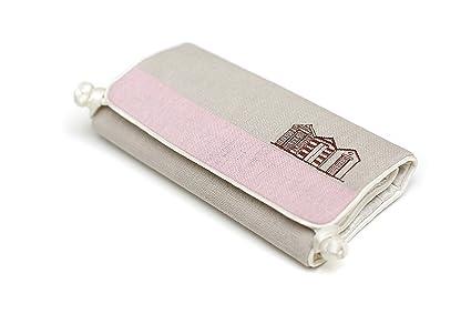 Diseño de caseta de playa joyero de crema y rosa lino