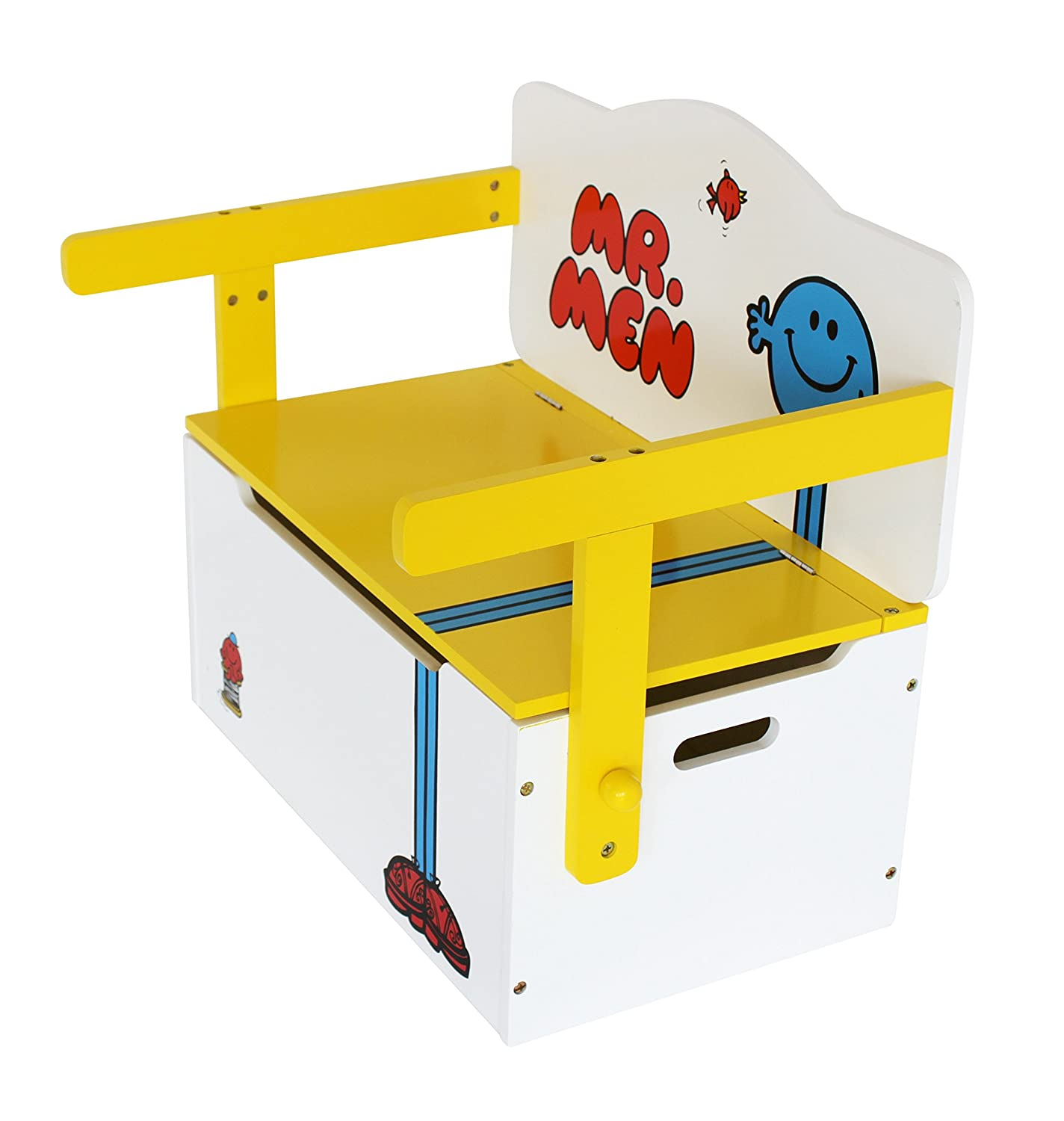 Mr Men - Childrens Kids 3in1 Wooden Convertible Toy Box+Bench & Table+Chair - by Kiddi Style The Style Products Company