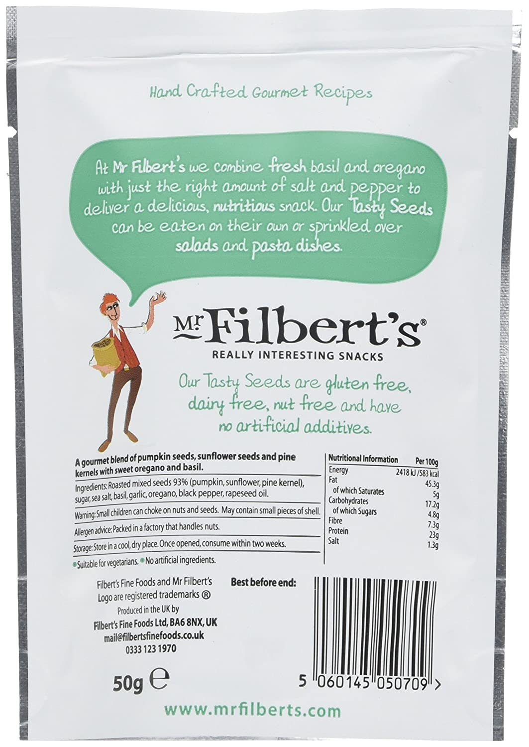 Mr Filberts Herb Roasted Tasty Seeds 50 G Pack Of 12 Amazonco