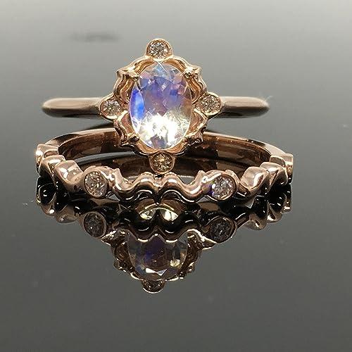 Amazoncom 14K Rose Gold Moonstone Engagement Ring Set Rose Gold