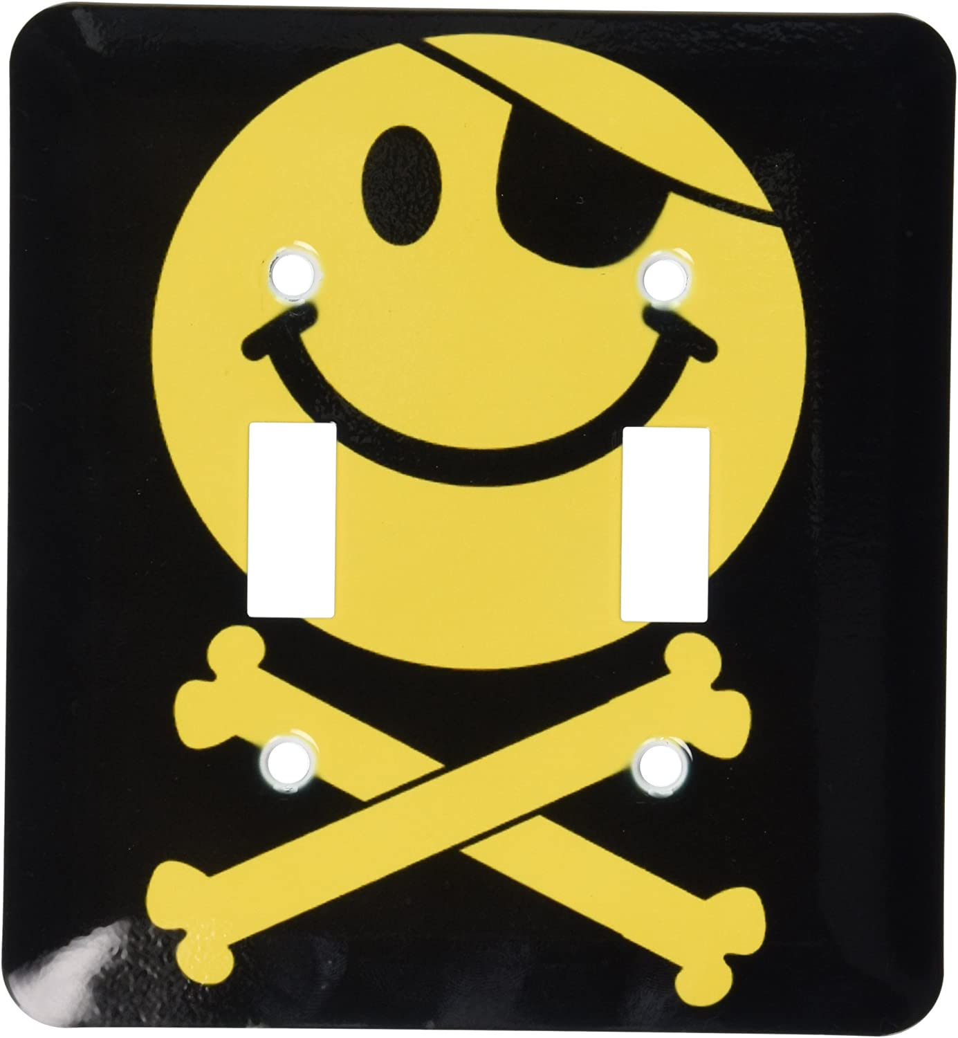 3drose Lsp 76648 2 Pirate Smiley Face Yellow Jolly Roger Flag Skull And Crossbones Smilie With Eye Patch Double Toggle Switch Switch Plates Amazon Com